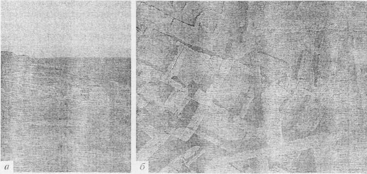 Рис. 3. Телль Хазна I. Остатки оборонительной стены в восточной части Телля (а, б).