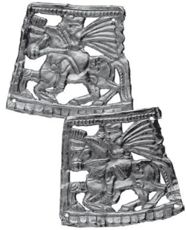 Рис. 4.3. Бляхи с изображением всадника. Золото. Курган Тенлик. III-II вв. до н. э. Жетысу