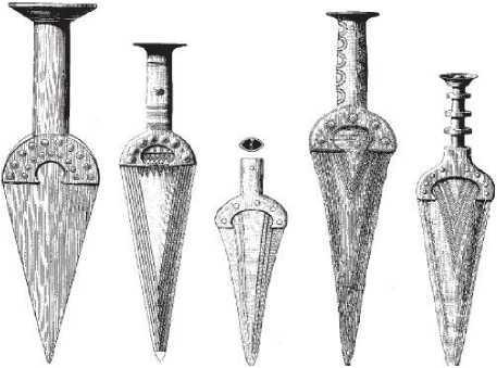 Рис. 4. Пример «типологической серии» медных и бронзовых кинжалов по О. Монтелиусу.