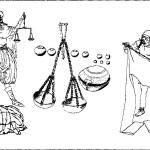 Рис. 66. Типажи варяжских торговцев (реконструкция по Б. Альмгрену) Слева — торговец мехами; в центре — весы и гирьки — обязательный атрибут купцов на Балтике в X-XI вв.; справа — торговец тканями