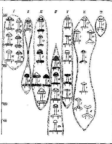 Рис. 85. Типология мечей эпохи викингов (типы и датировки по Я. Петерсену)