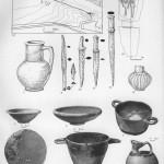 Таблица XLVIII. Тирамба (Пересыпь) 1 — зеркало бронзовое из могилы 106; 2 — скифос коринфский начала V в. до н. э. из могилы 106; 3 — аск начала V в. до н. э. из могилы 144; 4, 5 — миски V в. до н. э. из могилы 149; 6 — скифос чернолаковый V в. до н. э.; 7 — кувшин красноглиняный из склепа 78 II в. до н. э.; 8—12 — железные мечи-акинаки, наконечники копья и стрелы VI — начала V в. до н. э. из могилы 95, 88, 145; 13 — сероглиняный сосуд из склепа 78 II в. до н. э.; 14 — план склепа 78 (а — раскопы на территории некрополя; б — раскоп на городище); 15 — схематический план расположения раскопов. Составитель А. К. Коровина