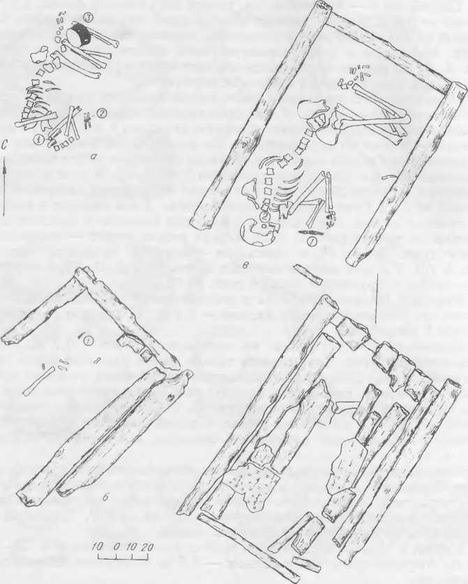Рис. 3. Планы погребений кургана 3 Тнтовского могильника и расположение находок в них. а — погребение 1 (1 — кольцо, 2 — пластинчатый браслет, 3 — глиняный сосуд); б — погребение 2 (1 — обломок ножа), в — погребение 3 (1 — нож, 2 — гвоздевидная серьга).