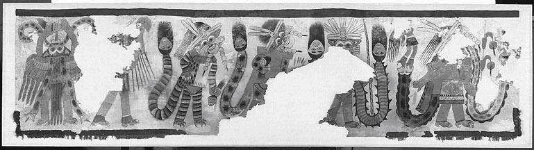 Рис. 11.18. Погребальная хлопковая ткань, полуостров Паракас, Перу, 3000 год до н. э. («Ткань с процессией фигур», Перу, Южное побережье, стиль наска, 100–200 годы до н. э. Хлопок, простое плетение, пигмент; 69,8 х 280,7 см