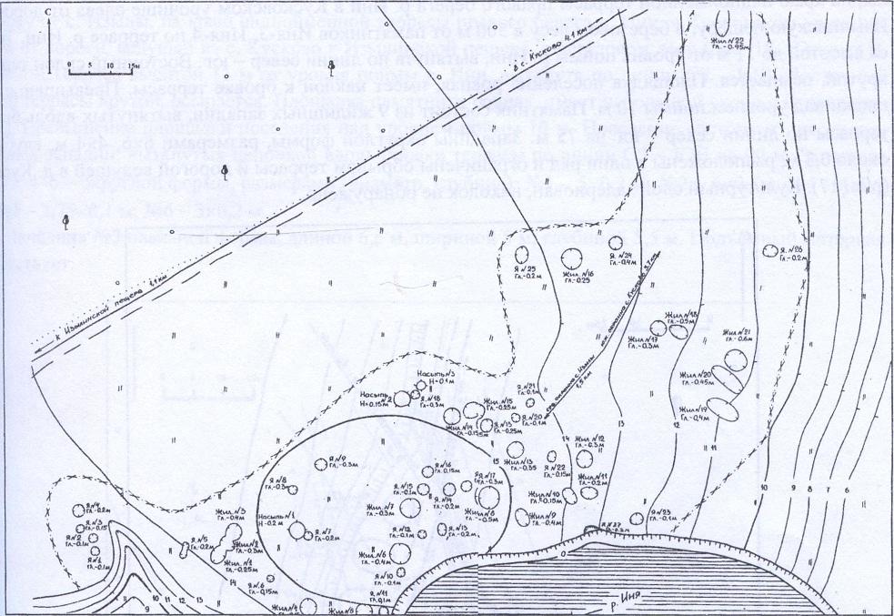 Рис. 16. План археологического памятника Иня-4