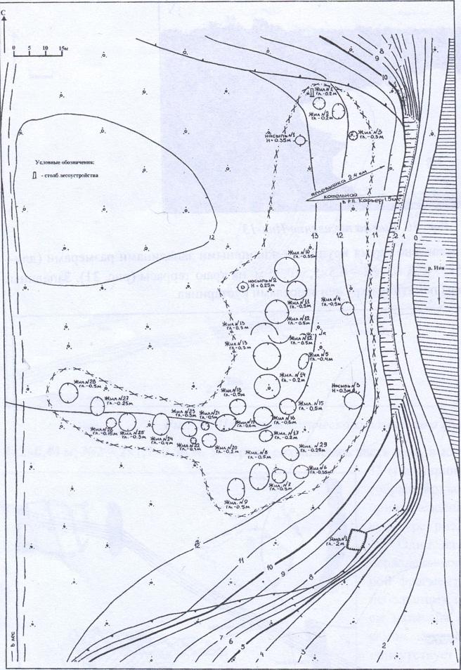 Рис. 33. План археологического памятника Карьер-2