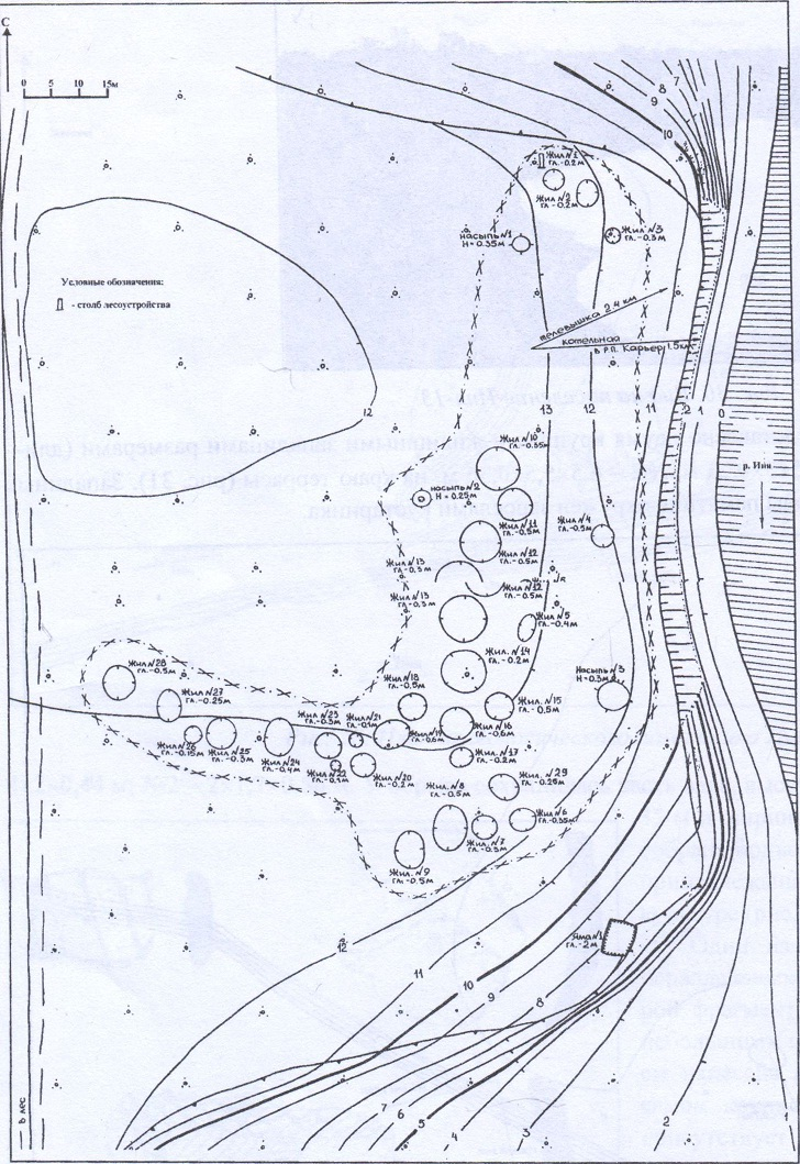 Рис. 32. План археологического памятника Карьер-1