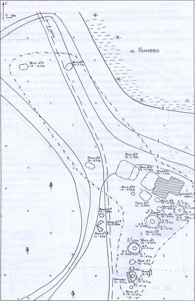 Рис. 44. План археологического памятника Линево-1