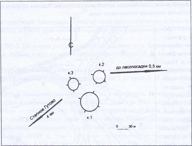 Рис. 49. План археологического памятника Степное Гутово-1