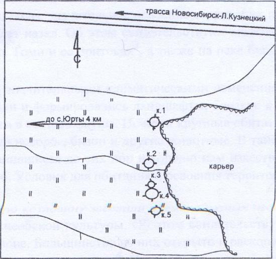 Рис. 57. План археологического памятника Юрты-2