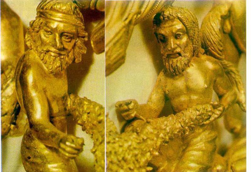 Фрагмент золотой пекторали. Толстая могила.