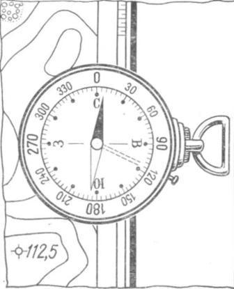 Рис. 106. Ориентирование карты по компасу с учетом склонения