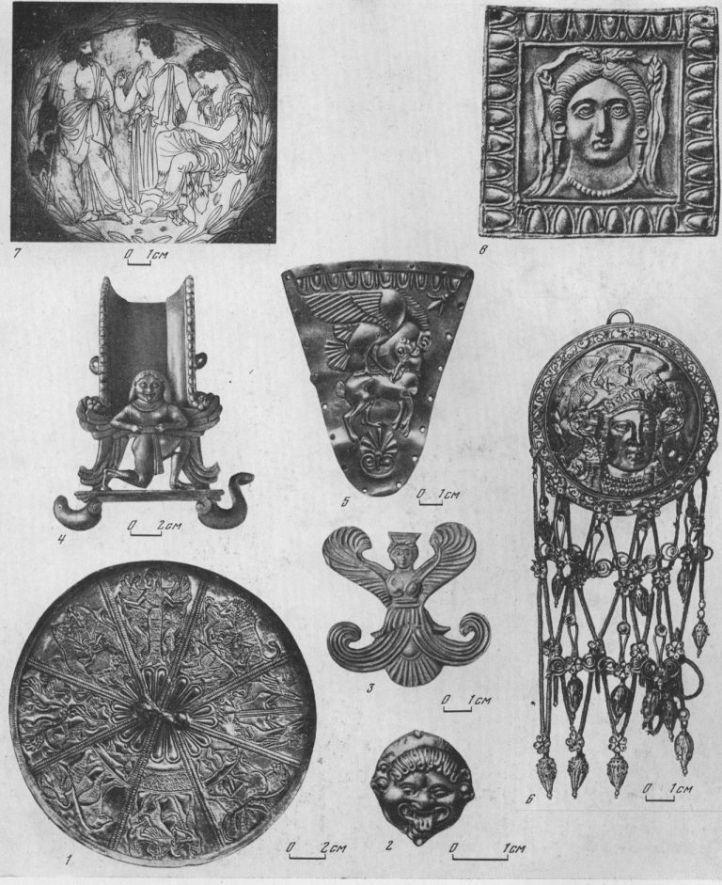 Таблица CI. Произведения торевтов 1 — зеркало из Келермесского кургана, первая половина VI в. до н. э.; 2 — бляшка с изображением Горгоны, VI в. до н. э., Пантикапей; 3 — бляшка в виде крылатой богини, V в. до н. э., Большая Близница; 4 — украшение ручки кратера, VI в. до н. э., курган у с. Мартоноши Херсонской обл.; 5 — бляшка с изображением орла, терзающего зайца, Семибратний курган, V в. до н. э.; 6 — височная подвеска с изображением головы Афины Парфенос, Куль-Оба, IV в. до н. э.; 7 — килик с гравированным изображением сцены трагедии, вторая половина V в. до н. э., 6-й Семибратний курган; 8 — бляшка с изображением Коры, IV в. до н. э., Большая Близница  1 — серебро с позолотой; 2, 3 — электр; 4 — бронза; 5, 6, 8 — золото; 7 — серебро. Составитель М. М. Кобылина