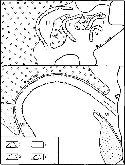 Рис. 49. Схема расположения висских (А) и мармугинских (Б) старинных торфяников Условные обозначения: 1 — 1-я надпойменная (боровая) терраса; 2 — высокая пойма; 3 — низкая пойма; 4 — торфяники (I — Високий I; II — Високий II; III, V — прочие торфяники без культурных остатков; VI — Мармугинский I; VII — Мармугинский II)