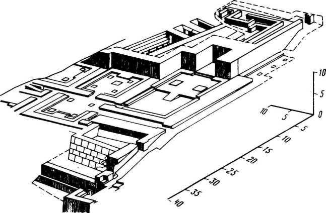 Рис. 1. Древний Пенджикент. Тронный зал. Реконструкция архитектора Л. Л. Гуревича.