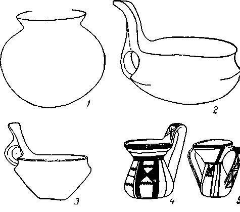 Рис. 112. Керамика медного века: 1,2 — из пещеры в Отранто; 3 — из дольмена в Бишелье; 4,5 — сицилийский период (1/4).