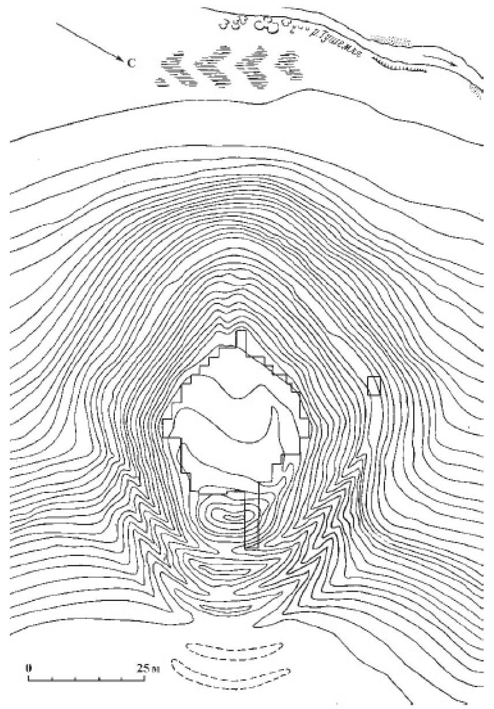 Рис. 18. План городища Тушемля, верхнее Поднепровье, V в. до н. э. - IX в. н. э.; сечение горизонталей 0,5 м.