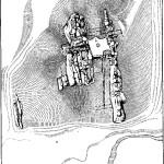 Рис. 1. Схематический план Камня с оборонительными сооружениями. 1 — Большое Крыло; 2 — Малое Крыло; 3 — «двор»; 4 — Отдельный Камень; 5 — «внутренний дворик»; 6 — верхняя площадка; 7 — Малый Камень; 8 — ворота; 9 — колодец; а — остатки каменной стены; б — места предполагаемых деревянных стен; в — высота над уровнем долины