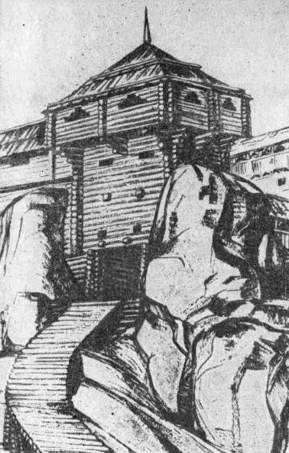 Рис. 3. Реконструкция ворот, вид с севера