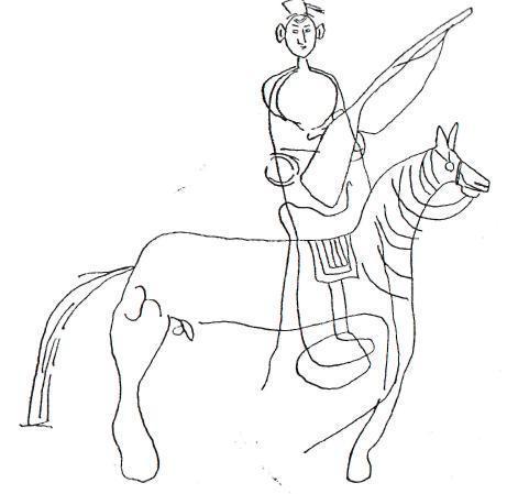 Рис. 60. Тува. Мугур-Саргол. Всадник на лошади