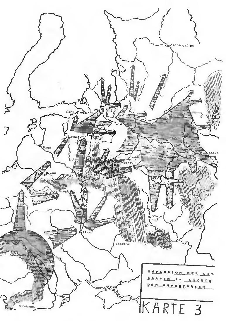 Рис. 16. Экспансия славян по данным топонимии (по Ю. Удольфу)