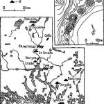 Рис. 21. Средняя Швеция (Уинланд) - ядро раннегосударственной территории племени свеев Важнейшие памятники VI-IX ее.: а — торгово-ремесленные поселения; Ь, с — единичные захоронения и могильники с погребениями в ладье; d — монументальные курганы. На врезке памятники Старой Уппсалы: 1 —тинговый холм; 2-4 — Великие курганы; 5 — курганный могильник; 6 — пруд возле священной рощи; 7 — храм (по Л. Лециевичу)