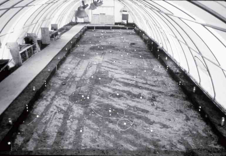 Рис. 18.3. Раскопки в рамках проектов УКР идут круглый год. Раскопки на памятнике Хауорт-Нельсон на юго-западе Пенсильвании холодными зимними месяцами проводились при обогревании под надувной крышей