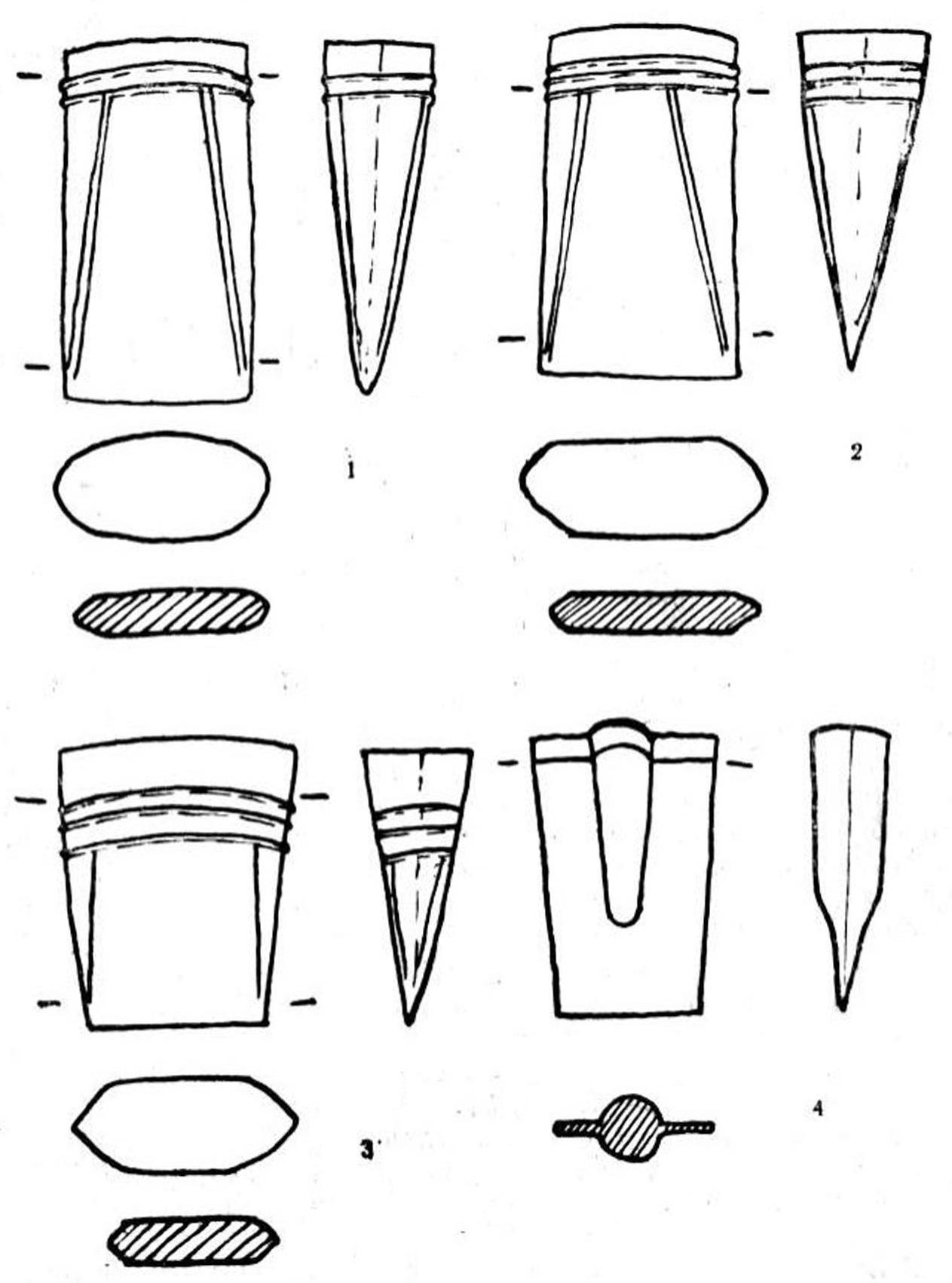 Рис 16. Кельты турбинского типа (1—3) и лопата-кельт (4) с поселения Самусь IV (отливки, сделанные по формам).