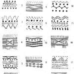 Рис. 15. Схематическое изображение элементов и узоров орнамента на керамике из поселения Самусь IV.