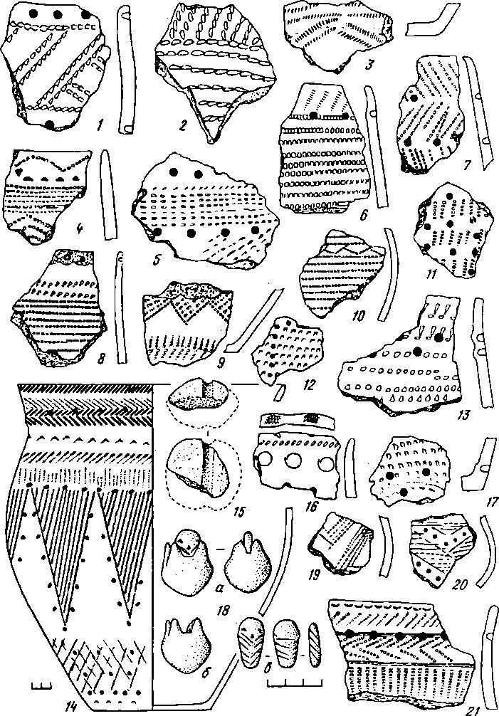 Рис. 3. Поселение Юргаркуль III. Керамика эпохи бронзы