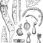 Рис. 36. Изделия из железа, меди и бронзы Успенского городища. 1 — серп; 2 — нож; 3 — булавка; 4 — пряжка; 5 — фрагмент браслета; 6 — наконечник стрелы; 7 — фрагмент височного кольца; 8—9 — умбоновидные подвески; 10—12 — шумящие украшения; 13—14 — детали поясного набора (1—б — железо; 7—14 — медь и бронза)