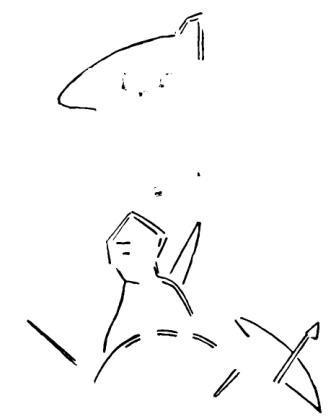 Рис. 37. Прорись рисунка на глиняном шарике из Успенского городища (увеличено в 3 раза)
