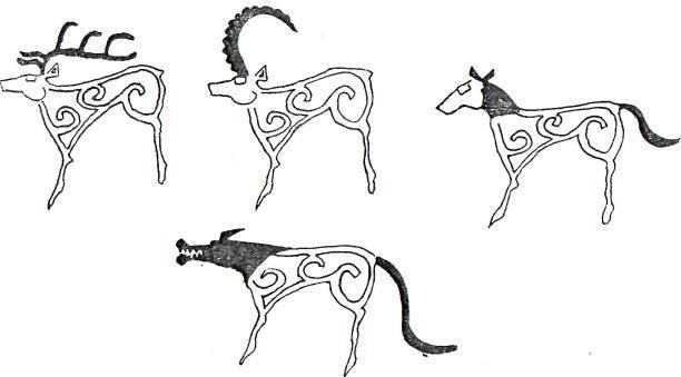 Рис. 3. Усть-Туба III. 60. Образы разных животных создаются в результате замены содержательных элементов при  сохранении основных изобразительных инвариантов