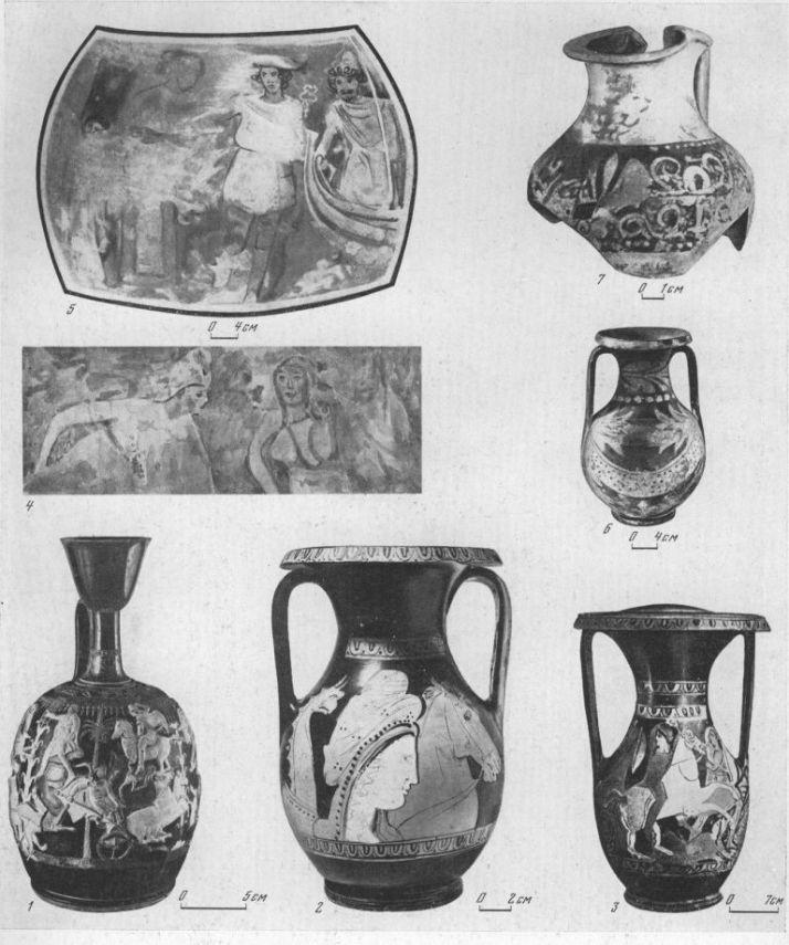 Таблица CXII. Импортные вазы VI — I вв. до н. э. 1 — лекиф работы Ксенофанта, начало IV в. до н. э., Пантикапей; 2, 3 — боспорские пелики, IV в. до н. э. (2 — Пантикапей, 3 — Тиритака) ; 4—7 — полихром