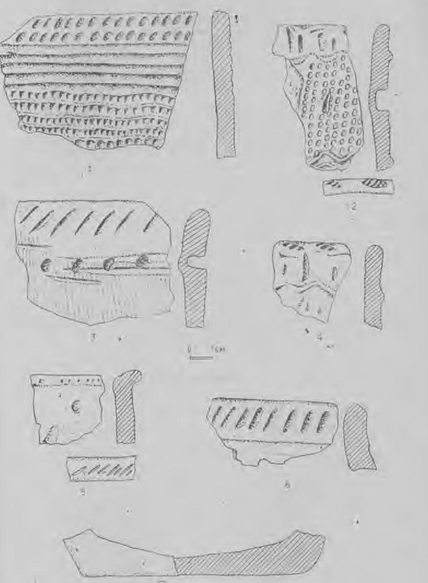 Рис. 42. Керамика кротовской культуры (верхний и нижний горизонт памятника Венгерово-3).