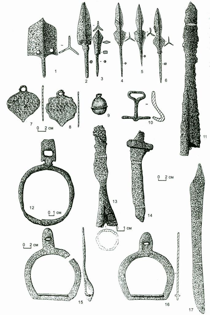 Рис. 42. Материалы верхнеобской культуры: 1-6, 10-17, - железо; 709 - бронза.