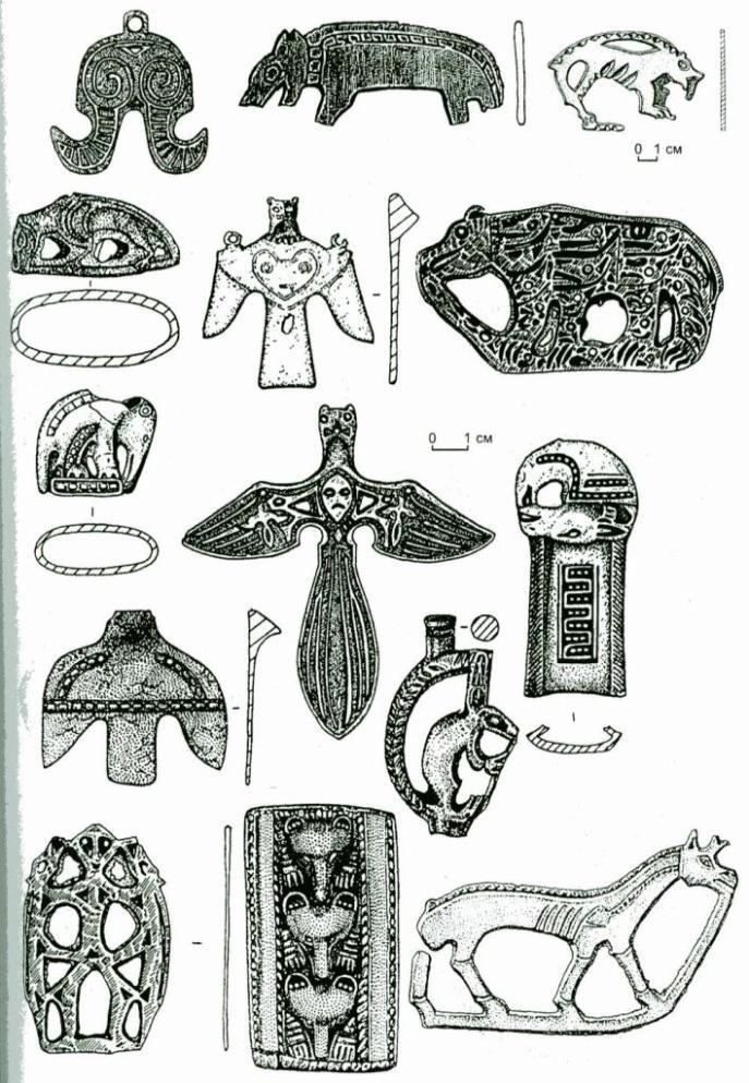 Рис. 43. Культовое бронзовое литье верхнеобской культуры.