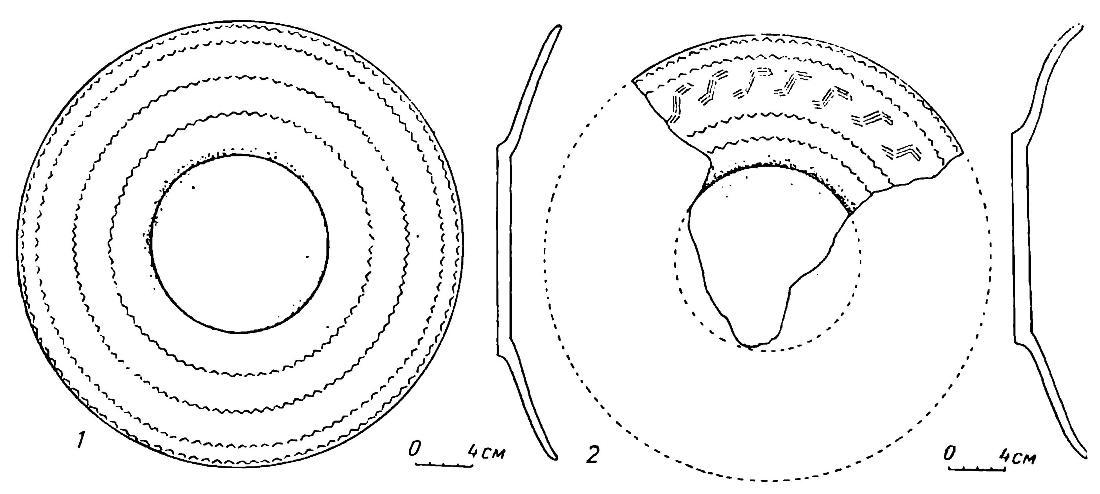 Рис. 81. Культовые глиняные блюда из Горбуновского торфяника (бронзовый век)