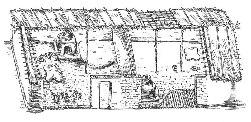 Рис. 23. Реконструкция трипольского жилища с поселения Владимировка [Пассек Т. С., 1949].