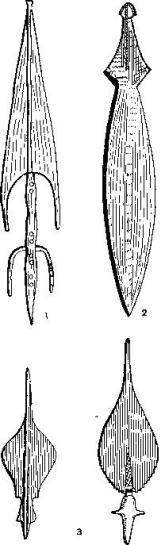 Африканские металлические изделия, использовавшиеся в качестве денег: 1 — железное копье, Северное Конго; 2 — медная «монета», Конго; 3 — наконечники копий, Западная Африка