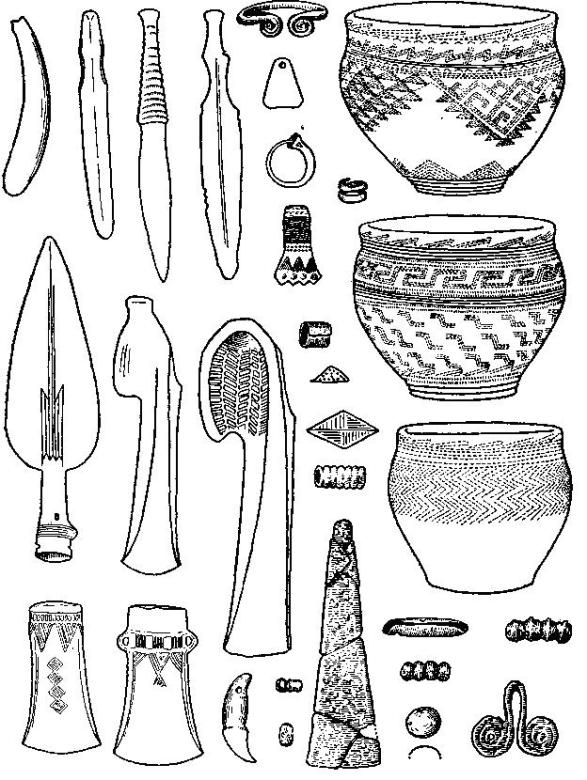Основные типы вещей, встречающихся на памятниках андроновской культуры (по М. П. Грязнову)