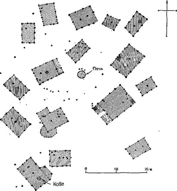 Поселение раннего железного века начала 1 тысячелетия до н. э., состоящее из жилищ отдельных патриархальных семей. Перлеберг, ГДР