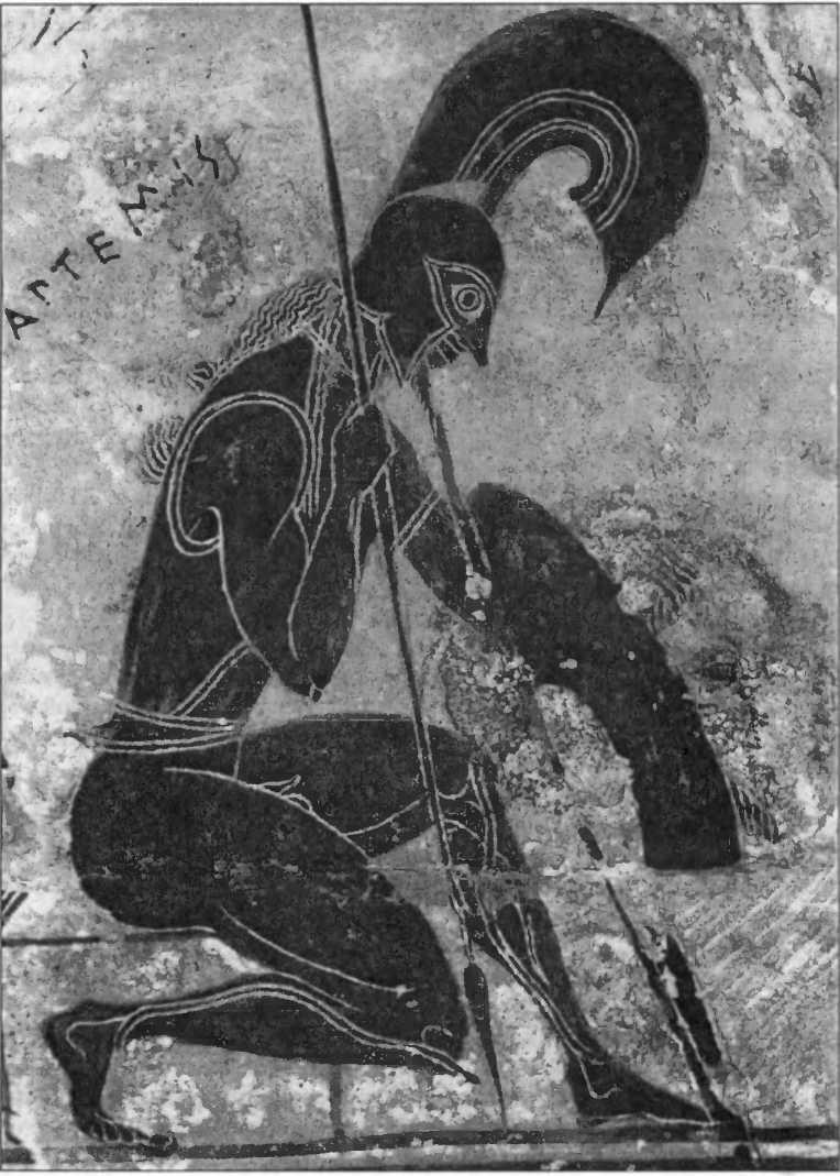 """Коленопреклоненный воин. Фрагмент """"Вазы Франсуа"""" из Кьюзи. 570-560 гг. до н.э."""