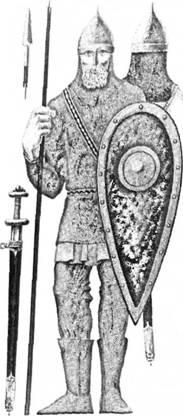 Рис. 8. Давньоруський воїн (реконструкція П. П. Толочка)