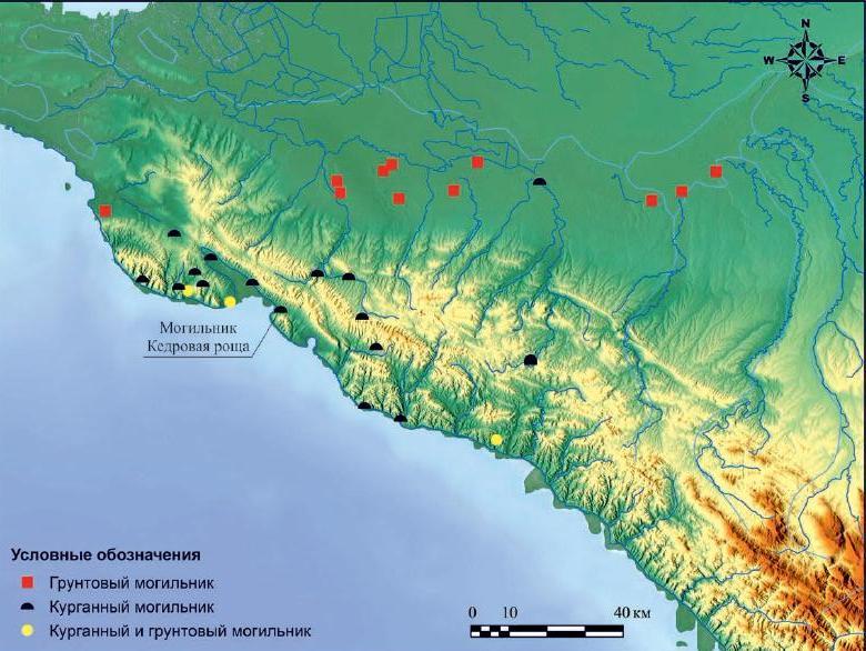 Рис. III. Карта с местоположением могильника Кедровая Роща.