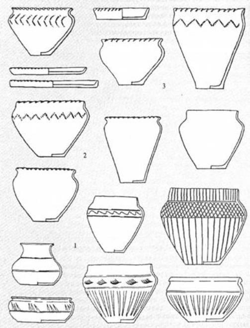 Рис. 25. Гончарний посуд волинцевської культури (1); ліпна кераміка волинцевської (2) і роменської культур (3)