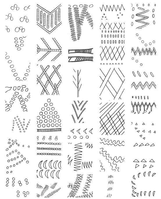 Рис. 2. Элементы орнамента и орнаментальные мотивы волосовской культуры