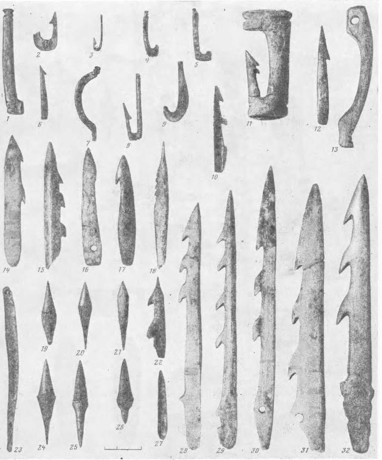 Рис. 5. Костяные орудия волосовской культуры 1—9, 11—13 — рыболовные крючки (Сахтыш I, II); 10, 14—18, 22, 29—32 — гарпуны (Стрелка I, Сахтыш II); 19—21, 24—27 — наконечники стрел (Сахтыш I, II); 23 — игла (Стрелка I)