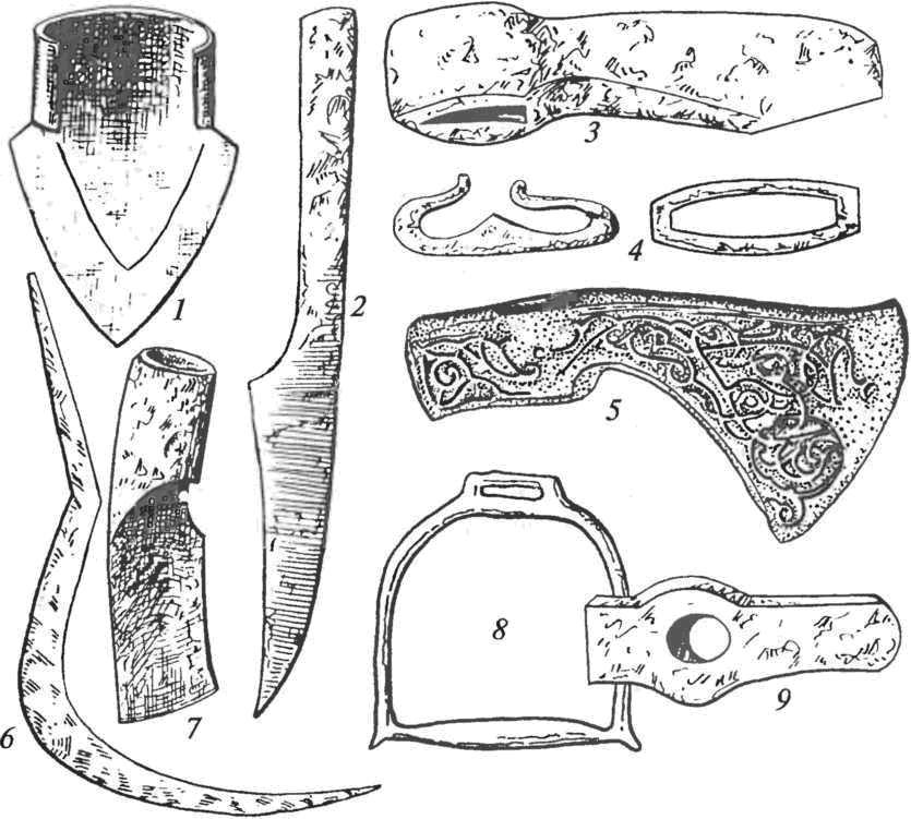 Кузнечные изделия: 1 — наралъник; 2 — чересло; 3 — топор; 4 — кресала; 5 — парадный топор; 6 — серп; 7 — мотыга; 8 — стремя; 9 — молот