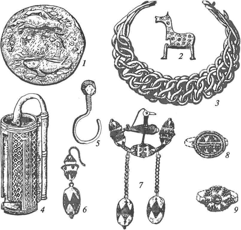 Ювелирные изделия: 1 — накладка; 2 — замочек; 3 — браслет; 4 — замок навесной; 5-7 — серьги; 8, 9 — перстни